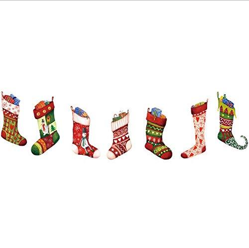 Muursticker, creatief, Kerstmis, sokken, cartoon, decoratie, Kerstmis, woonkamer, slaapkamer, ramen, glas