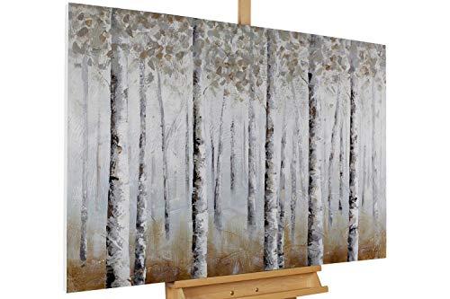 KunstLoft® Acryl Gemälde 'Birkenlichter' 120x80cm   original handgemalte Leinwand Bilder XXL   Wald Birken Braun Weiß Deko   Wandbild Acrylbild Moderne Kunst einteilig mit Rahmen