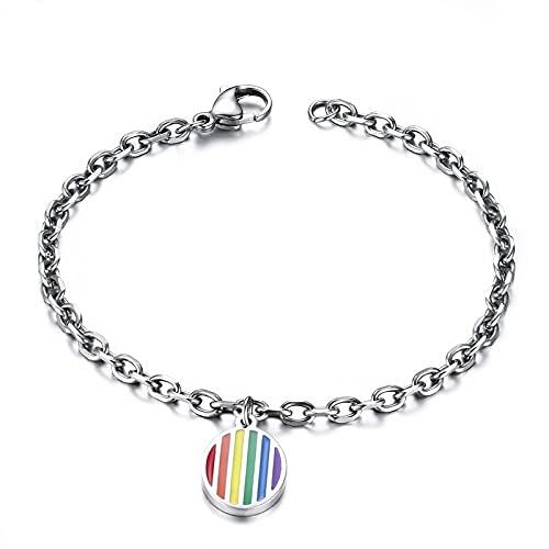 ZFAYFMA LGBT - Collar con anillo del orgullo de acero inoxidable, diseño de bandera arcoíris, large