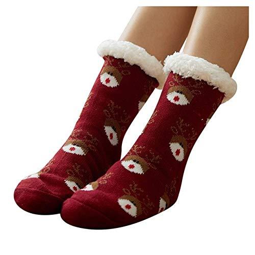 LILONGXI Slipper Sokken, Comfanti-Slip Floor Sokken, Vrouwen Leisure Tapijt Sokken Winter Dikker Rode Wijn Leuke Elk Patroon Print Thuis Warm (3st)