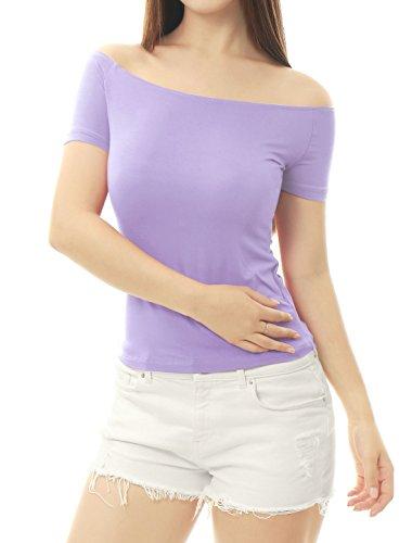 Allegra K Women's Short Sleeves Off The Shoulder Solid Crop Top Small Lavender