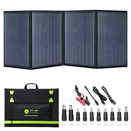 100 Watt Portable Solar Panels, Foldable Solar Panel Charger, Compatible with Solar Power Stations/Phones/laptops/12V Batteries, Suitable for Family Camping/Travel/Hiking Various Outdoor Activities