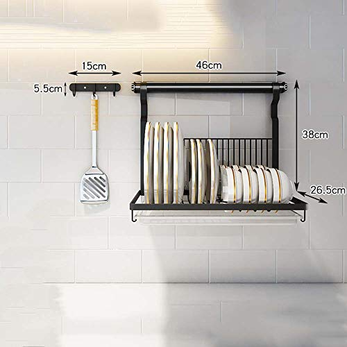 escurreplatos Bandeja de desagüe - Rejilla de Almacenamiento de Pared de Acero Inoxidable para Cocina, con Ganchos, Agujeros taladrados, Pintura en Polvo Negro.