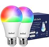 BOXLOOD Lampadina Smart E27 Lampadine Alexa WiFi 7W A60, 60W Equivalente,Lampada Intelligente LED Dimmerabile Controllo Vocale Compatibile con Google Home, RGB 2700K-6500K, 2 Pezzi