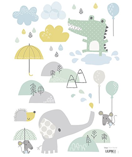 Lilipinso-Stickers A3 crocodile et éléphant Smile, it's raining by Dawn Machell (29,7 x 42 cm)