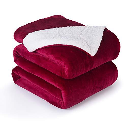VOTOWN HOME Manta de forro polar Sherpa rojo vino 220 x 240 cm, cómoda manta de cama con suave franela de felpa, doble cara acogedora manta mullida para sofá y campo.
