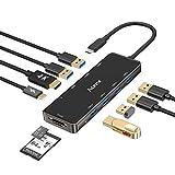 Aceele Hub USB C, 10 en 1 Adaptador Tipo C Hub con 6 Puertos USB 3.0, HDMI 4K, 100W PD Tipo C, Lector de Tarjetas SD/TF, para iPad Pro 2020, Macbook Pro 2018/2019, Huawei P40 Pro etc.