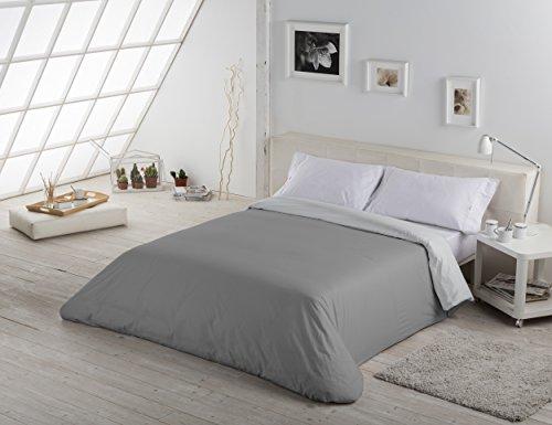 Funda nórdica de ES-TELA, dos colores lisos, 50 % algodón y 50 % poliéster, 144hilos, 50% algodón/50% poliéster, Pearl-lead, Cama de 90 (150x220 cm)