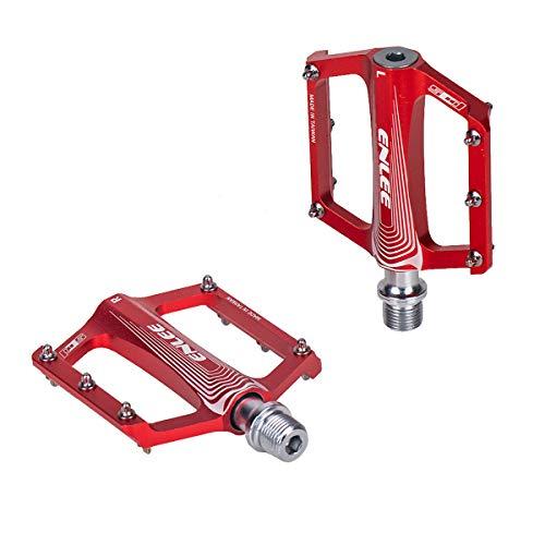 d'Stil Pedali da Ciclismo BMX in Alluminio Ultra Leggeri e Antiscivolo 9/16' Sealed Cuscinetto,Robusti e Durevoli Flat Universali Pedali per Bici MTB/BMX (Rosso-2, Universale)