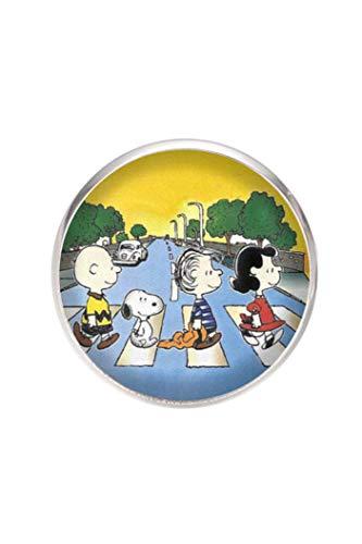 Edelstahl Brosche, Durchmesser 25mm, Stift 0,7mm, handgemachte Illustration Peanuts