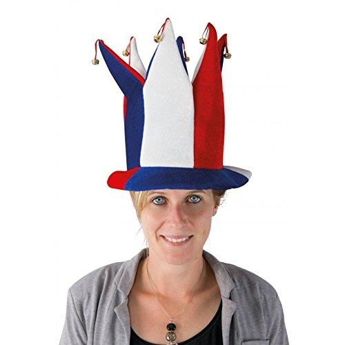 P'tit Clown- Chapeau velours fou du roi à clochettes adulte - bleu, blanc et rouge, Unisex, 30032, Taille Unique