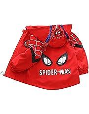 WEIR Chaqueta de Spiderman para niños Primavera y otoño para niños de una Sola Capa con Bolsillo con Cremallera Sudadera de Manga Larga Outerwear