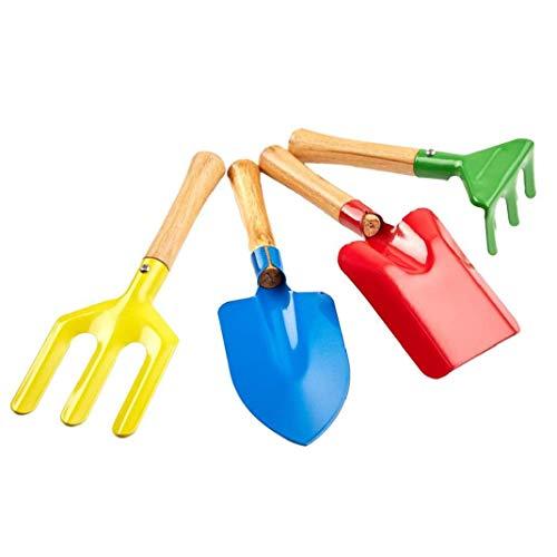 Niños Herramientas de jardinería, 4PCS Beach Sandbox niños Juguetes Set Equipo de Jardinería Rastrillo Pala Conjunto de Metal con Mango de Madera Robusta
