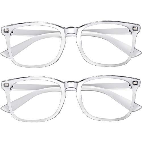 Blue Light Blocking Glasses 2pack Square Computer Glasses Women/Men, Nerd Reading Gaming Glasses Non Prescription (2transparent)