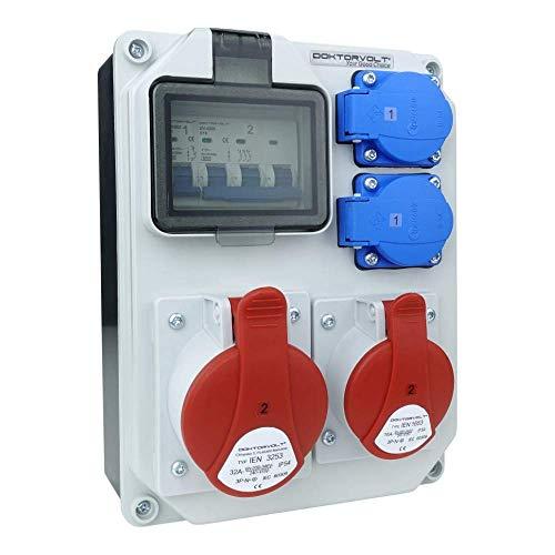 Distribuidor de corriente HL-S 32 A, 16 A, 2 x 230 V, distribuidor de corriente para obras de construcción, distribuidor de pared, doctorvolt 5361
