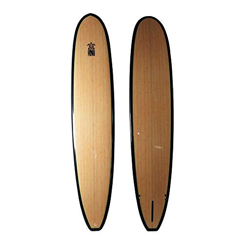 HONU Longboard 9'6, Acabado bambú, Larga Tabla Retro + 3 derivas