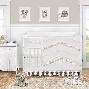 Sweet Jojo Designs Ivory Gender Neutral Boho Bohemian Baby Girl or Boy Nursery Crib Bedding Set - 5pc - Solid Color Beige Cream Off White Farmhouse Chic Unisex Minimalist Tassel Fringe Macrame Cotton