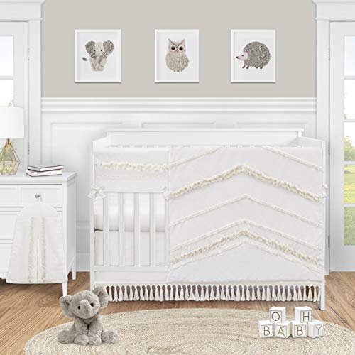 Sweet Jojo Designs Ivory Gender Neutral Boho Bohemian Baby Girl or Boy Nursery Crib Bedding Set - 5pc - Solid Color Beige Cream Off White Farmhouse Chic Unisex Minimalist Tassel Fringe Macrame Cotton
