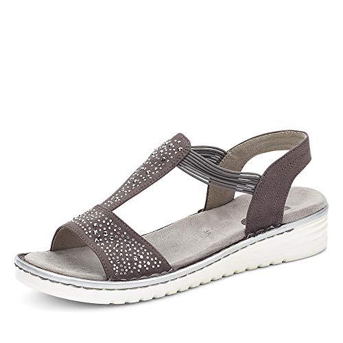 Jenny 22-57255 75 Havanna Damen Sandale aus Lederimitat mit Luftpolstersohle, Groesse 39, grau