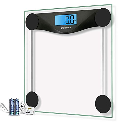 Etekcity Digital Body Weight Bathroom Scale with Body Tape Measure, Large Blue LCD Backlight Display, High Precision Measurements, 6mm Tempered Glass, 400 Pounds, Black
