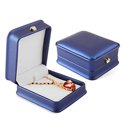 iSuperb Set of 2 Necklace Pendant Box Chain Bracelet Gift Box PU Leather Jewelry Display Storage Case for Wedding Christmas Engagement Proposal