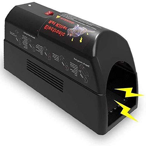 ASPECTEK Trampa para Ratas Eléctrica, Asesino de Roedores, Exterminador de Ratones, Batería y Complemento, Seguro, Humano y Limpio, Grande, Negro