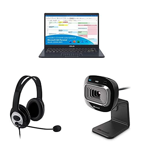 ASUS VivoBook with Microsoft Office 365 L410MA 14 Inch Full HD Laptop- Blue, Microsoft JUG-00014 LifeChat LX 3000 Headset - Black, Microsoft L2 LifeCam HD-3000-Black