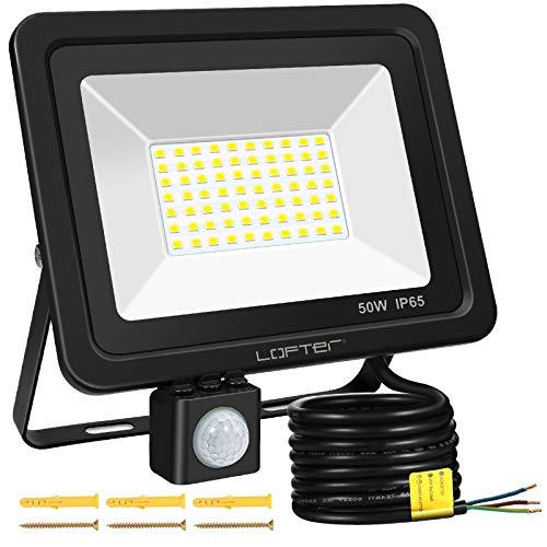 LOFTer 50W LED Strahler mit Bewegungsmelder 64LED 4000LM Superhell Fluter Aussenstrahler IP65 Wasserdicht Außen LED Scheinwerfer Flutlicht für Garten Garage Zufahrten Innenhöfen, 6000K