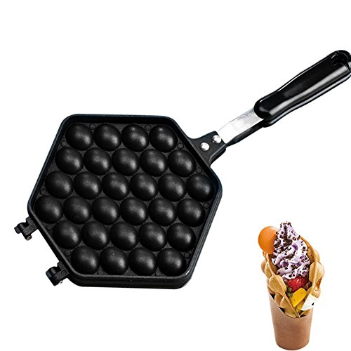 Egg Waffle Macchina Piastra Waffle Maker Torta All\'uovo Bakeware All\'uovo e L\'impasto Sotto Forma di Noci (nero-1)