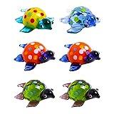 EXCEART 6 Piezas de Estatuillas de Tortuga de Cristal Ornamentos de Tortuga Miniatura Jardín de Hadas Bonsai Animal Escena Diseño Modelo Pecera Tortuga Decoración de Paisaje (Color Mixto)