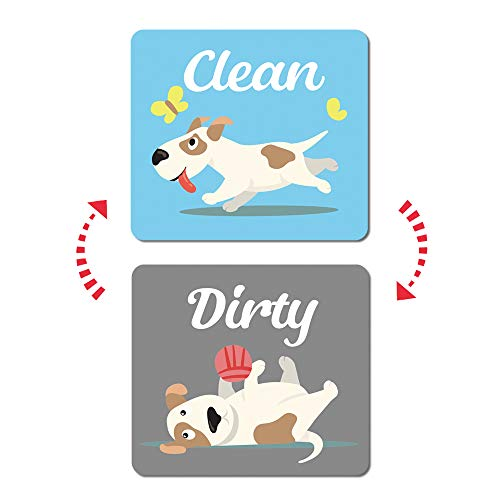 Umtiti Happy Dog, Clean Dirty Sign Magnet for Dishwasher, Laundry Machine, Refrigerator, Reversible Kitchen Dish Washer Sign, Double Sided Magnet with Bonus Magnetic Plate, Dog