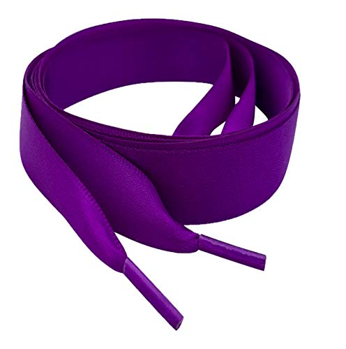 47' / 120cm long Purple Flat Satin Ribbon Shoelaces, Shoe Laces For Kids, Youths & Women's Trainers, Sneakers (120cm or 47' Long)