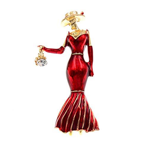 WANGGW Broche Vêtements Féminins Robe Femmes Broches Belle Émail Fille Cristal Sac À La Main Broche Broche Accessoires Dame Bijoux Cadeau