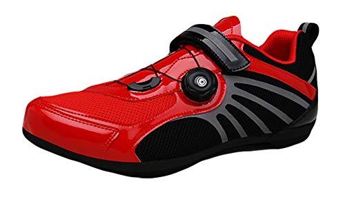 Insun Hombre Zapatillas Ciclismo Transpirable Bicicleta Deporte con Suela de Caucho y Sistema Rotativo Rojo Negro 42 EU