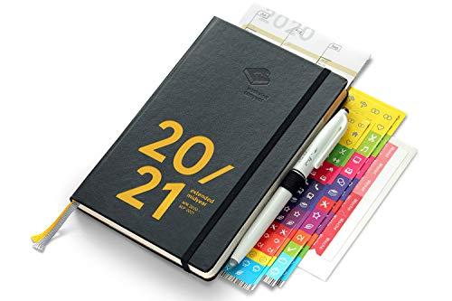 weekview compact extended midyear 2020/21 Premium | Apr 2020 bis Sep 2021 | mit Froschtasche, Stiftschlaufe, Stift, Notizheft, Griffregister zum Selbsteinkleben