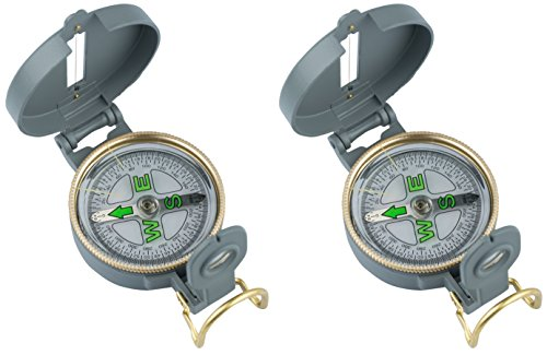 AceCamp 31069 Lot de 2 boussoles de poche en métal robuste avec fil d'orientation Idéal pour les excursions en bateau, la randonnée, l'extérieur