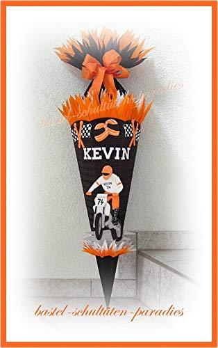 Schultüten Bastelset Motocross schwarz-orange-weiß