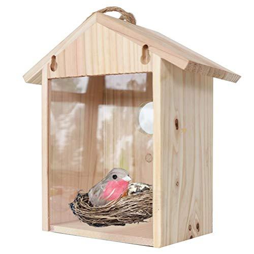 taianle Casa para Pájaros Comedero para Pájaros Caja de Nido Colgante de Madera Ventana Al Aire Libre Casa de Pájaros con Ventosas Cordón para Exterior Proyecto de Construcción de