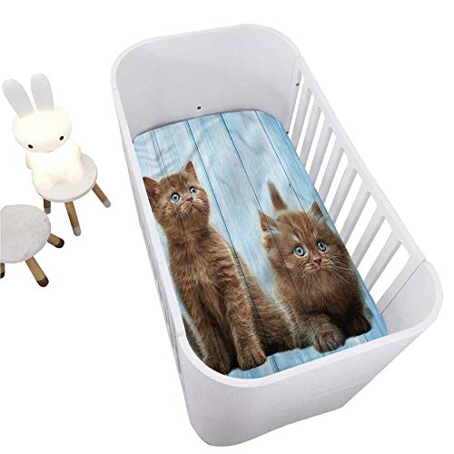"""Animal Crib Fitted Sheet,Baby Kitten Best Friend Decorative Breathable Cozy Baby Sheet for Standard Crib and Toddler mattresses Nursery Bedding Sheet Crib Mattress Sheets for Boys and Girls,28"""" x 52"""""""