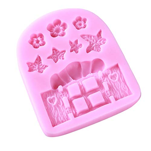 Idiytip-Rosa-Silikon-Blumen-Gras-Tür-geformte Schokoladen-Fondant-Kuchen-Form