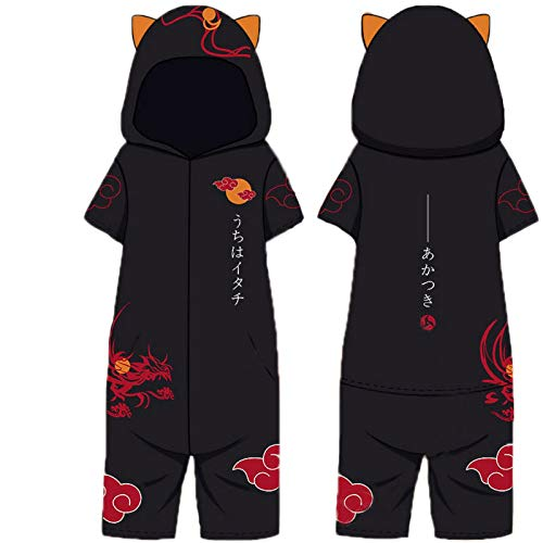 Naruto Onesie Pijamas, Hombres Anime japonés Ninja Hokage Todo en uno Disfraces Mono Cosplay Loungewear Ropa de Dormir Albornoz