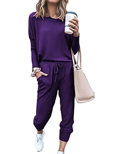 FOBEXISS Damen 2 Stück Jumpsuit Trainingsanzug Warm Sweatshirt + Lange Hosen Sportswear Anzug Laufen Workout Jumper Outfit Gr. 48, violett