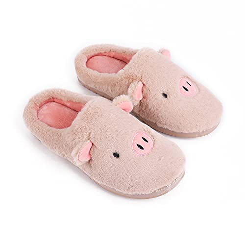 AQIYI - Pantofole invernali da donna a forma di maiale, in cotone, per interni ed esterni, cachi, 40/41 EU