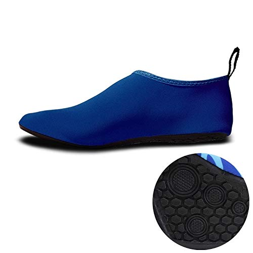 PingGongHuaKeJiYouXianGongSi - Zapatos de buceo y calcetines para deportes acuáticos al aire libre antideslizante resistente al desgaste, suela de goma gruesa (color: azul)