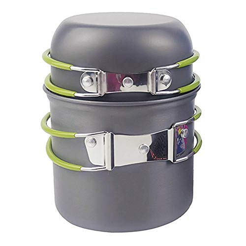 Ustensiles de cuisine Camping Pot Casseroles Batterie de cuisine en plein air Voyage Randonnée Waling BBQ Barbecue Pot Vert