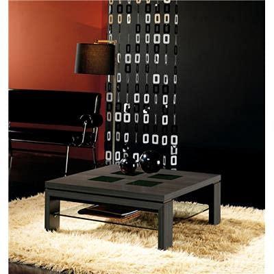 Kasalinea Table Basse carrée wengé et Verre Noir contemporaine Madeleine-L 90 x P 90 x H 36,5 cm- Noir