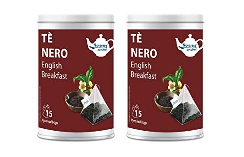 Novarese Zuccheri Tè Nero English Breakfast, 2 Barattoli con 15 Filtri Piramidali da 2G - 60 gr