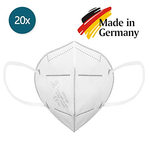 SENTIAS Mundschutz FFP2 Atemschutzmaske DEKRA 20er Set | DEUTSCHE HERSTELLUNG, geprüft und Zertifiziert in Deutschland | CE Prüfziffer 2163 - 2