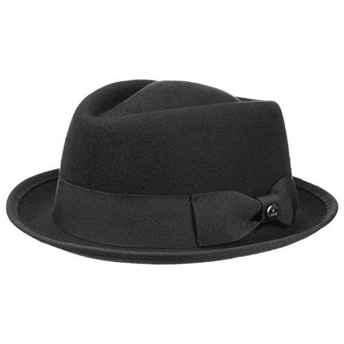 Lierys Fedora Pork Pie Ska Trilby Chapeau pour Homme (M (56-57 cm) - Noir)