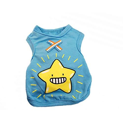 QHYY Polyester Hunde-Bekleidung Welpen-Hundekleidung Karikatur-Muster-Sommer-Hundeweste Breathable kühle Hunde-T-Shirt für kleine Hunde,D,M